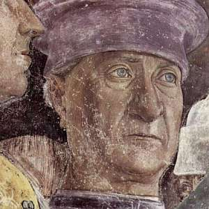 Probable Self Portrait hidden in a detail from La Camera degli Sposi (1467–74) by Andrea Mantegna, in the Palazzo Ducale, Mantova, Italy (Photo by unknown)