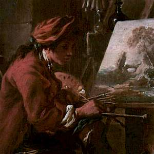 The Artist in his Studio (c. 1730/35), by François Boucher in the Louvre, Paris (Photo courtesy of the Louvre)