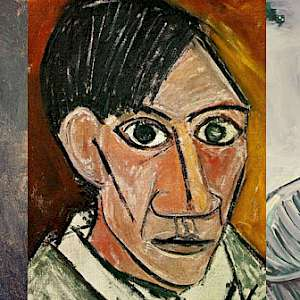 Pablo Picasso self-portraits at age 15 (1896), 25 (1907), and 89 (1971) (Photo collage courtesy of Twisted Sifter)