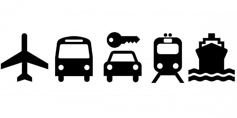 Transportation options to and within the United Kingdom (Photo icons courtesy of AIGA; illustrations by Reid Bramblett)