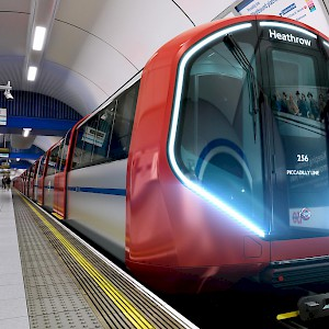 One of the newest Underground trains on the Piccadilly line headed toward Heathrow (Photo © Transport for London)
