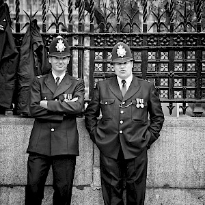 "London bobbies (nicknamed for Sir Robert ""Bobby"" Peel, who started the Metropolitan Police in 1829) (Photo by Aurelien Guichard)"