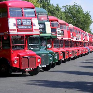 A line of old Routemasters at Finsbury Park (Photo Sludge G)
