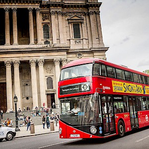 A new Routemaster double-decker bus at St. Pauls (Photo (c) Transport for London)