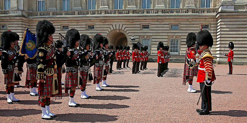 The changing of the guard in the courtyard of Buckingham Palace (Photo by Rennett Stowe)