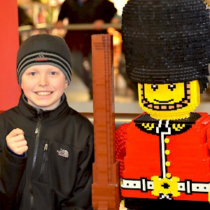 A Lego palace guard with bearskin hat at the Winsdor Legoland (Photo by Jim Larrison)