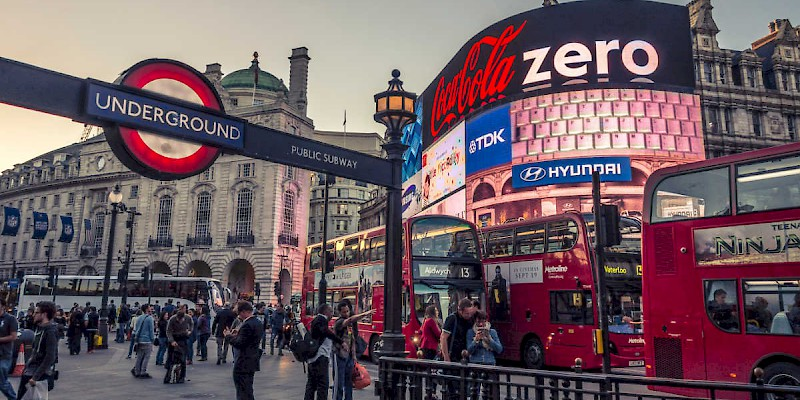 Piccadilly Circus in the evening (Photo by Mike T)