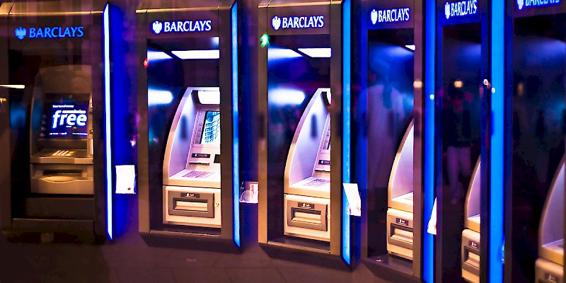 ATMs in a Barclays on London's Piccadilly Circus (Photo by Garry Knight)