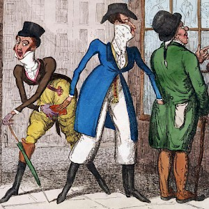 Dandy PickPockets Diving: Scene Near St. James Palace (ill. by Isaac Robert Cruikshank, 1789–1856) (Photo from an illustration by Isaac Robert Cruikshank (1789–1856), in the Lewis Walpole Library)