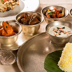 A maharaja thali (Indian sampler) (Photo courtesy of the restaurant)