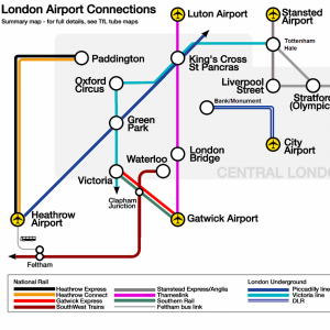 Major public transit connections of London airport (intra-airport buses not included) (Photo by Cnbrb)