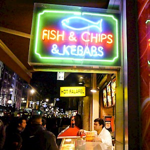 Fish & chips, kebabs, and felafel are all typical street foods in London (Photo by Paul Joseph)