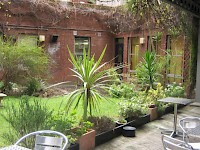 A garden terrace at the LSE Roseberry Hall dorm