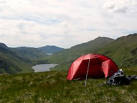 Camping at Mam Barisdale at the head of Gleann an Dubh Lochain, Knoydart
