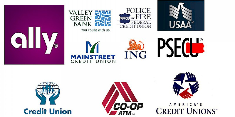 Credit unions, online banks, and local banks are almost always better than major banks (Photo collage by Reid Bramblett; logos courtesy of the respective business)