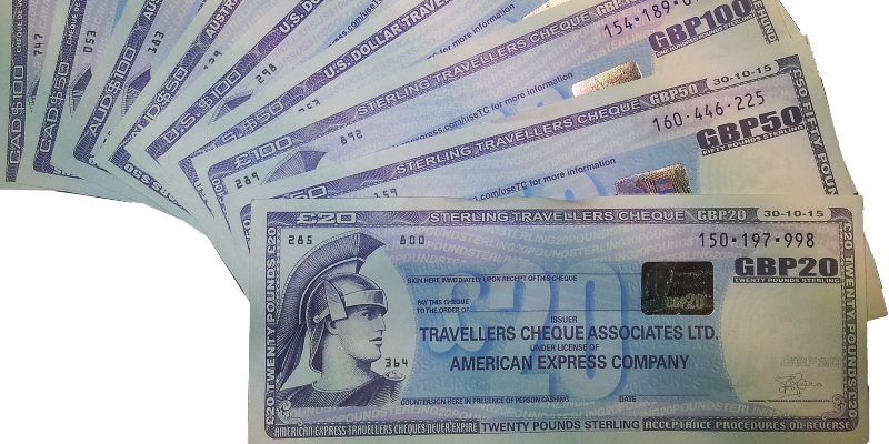 American Express traveler's cheques in a variety of currencies (Photo )
