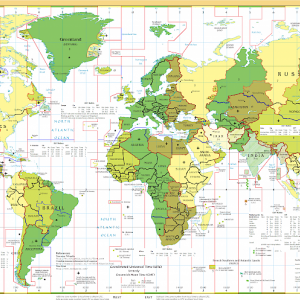 Global time zones (the red lines divide them) (Photo from CIA World Factbook)