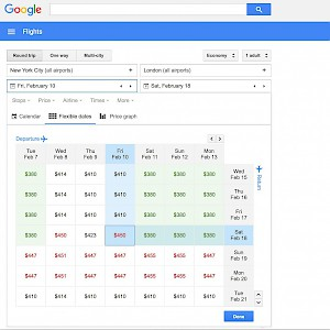 A flexible date calendar on Google Flights (Photo image courtesy of Google)