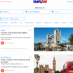 Some U.K. deals at Travelzoo (Photo courtesy of Travelzoo)