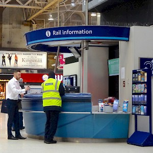 The information booth at Charing Cross Station (Photo by Julie Kertesz)