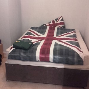 This veddy British guest bed belongs to a 33-year-old Welsh doctor living in London, offered through Couchsurfing.com (Photo courtesy of the host)