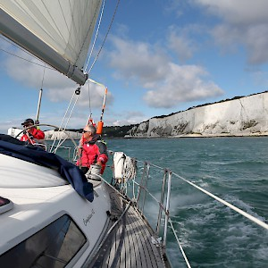 Sailing by the famed white cliffs of Dover, England (Photo by Martin Hesketh)