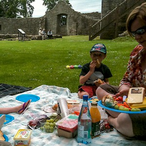 A picnic in the 1300s Lochleven Castle, where Mary Queen of Scots was imprisoned (Photo by Martin Burns)