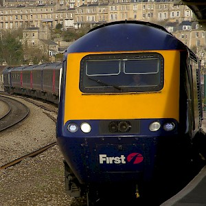 A train arriving at the Bath Spa railway station (Photo by Matt Buck)