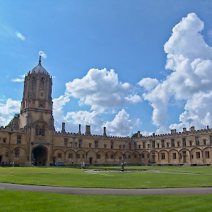 The quad, with the tower housing Great Tom Bell (Photo © Reid Bramblett)